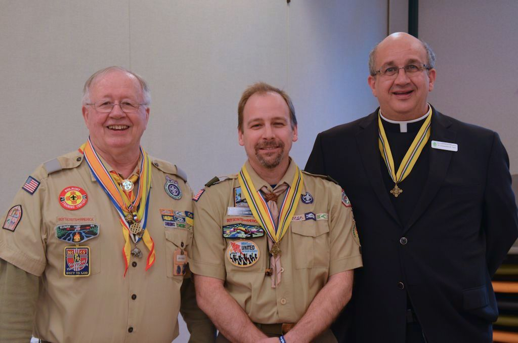 st george emblem recipients, Fr. Christopher Tiano, Scout Chaplain and John V. Meakin, Jr, Chairman of the Catholic Boy Scout Committee are on each side of Todd. Not shown is Paul Michaud.