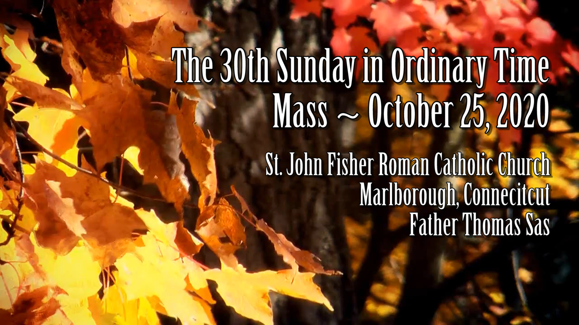 Mass ~ 30th Sunday in Ordinary Time ~ October 25, 2020